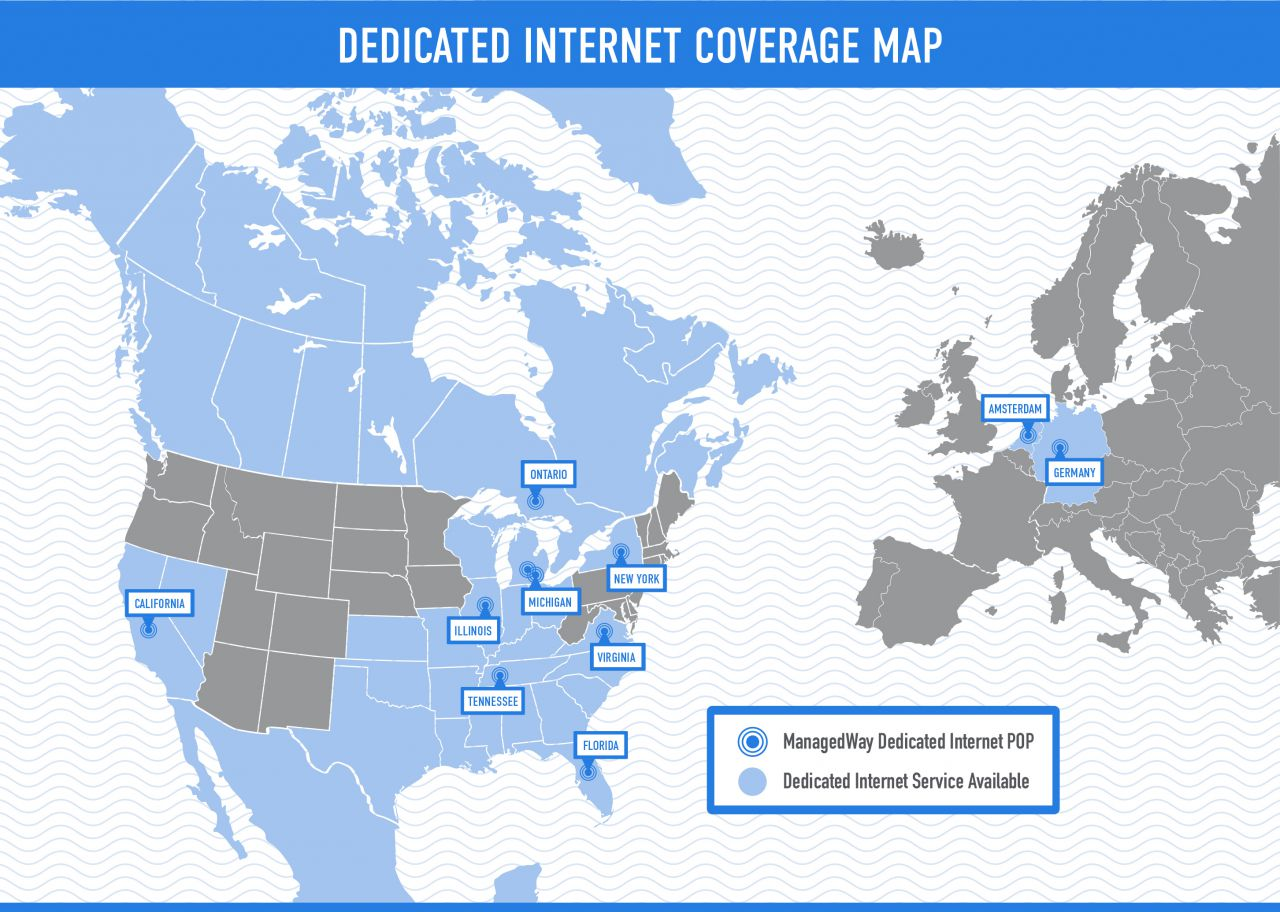 ManagedWay Dedicated Internet Coverage Map